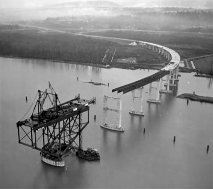 Construction of Port Mann Bridge, circa 1964