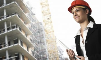 Female architect or project manager on a construction site.