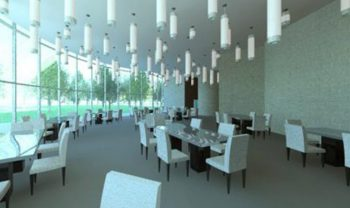 Rendering of interior dining area restaurant