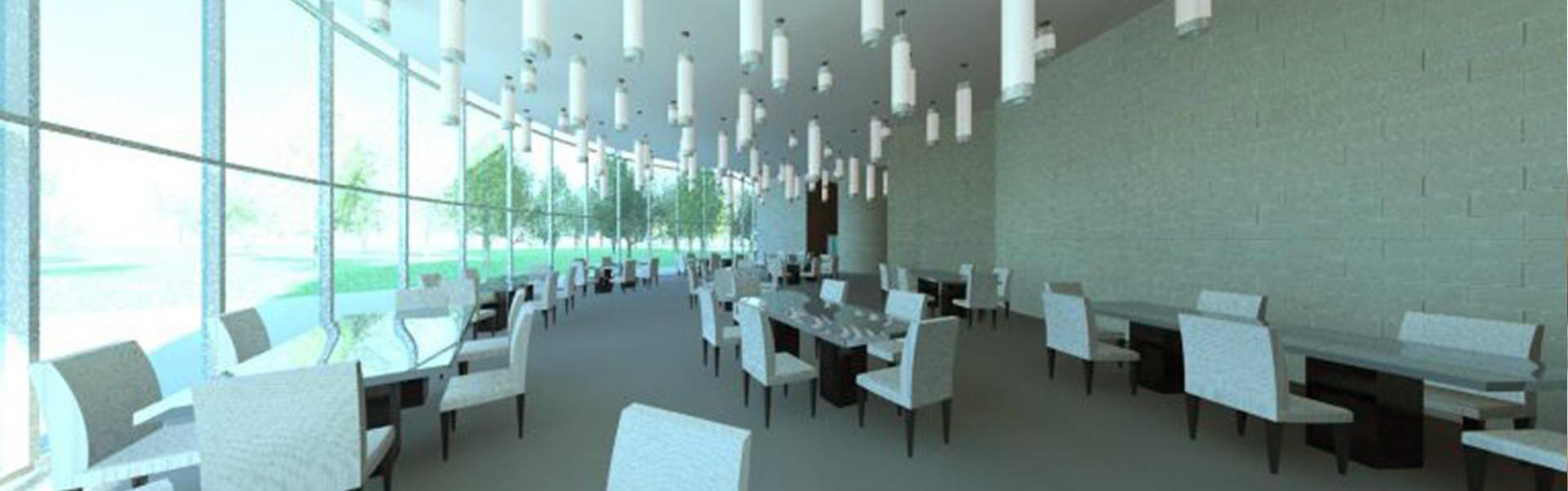 Rendering of interior dining area restaurant